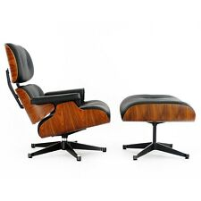 Classic Lounge Chair & Ottoman Black Leather and Rosewood