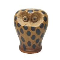 """Vintage Ceramic Owl Mid Century Modern Figure Spotted Browns Appx 5.5"""" Tall"""
