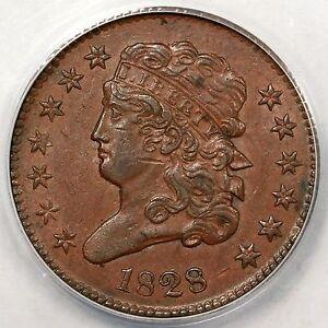 1828 C-1 ANACS AU 53 13 Stars Classic Head Half Cent Coin 1/2c