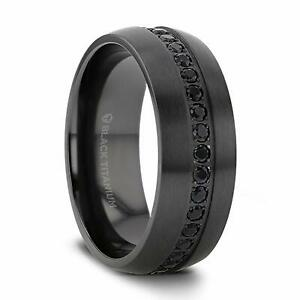 TALON Black Titanium Ring with Black Sapphires - 8mm