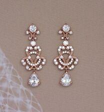 Isadora Bridal Formal Rose Gold Crystal Chandelier Earrings Vintage Wedding