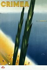"""Vintage Illustrated Travel Poster CANVAS PRINT Crimea Russia 24""""X16"""""""