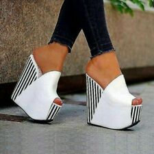 Women Sandals Wedge Platform Striped Pumps Synthetic Leather Ladies White Shoes