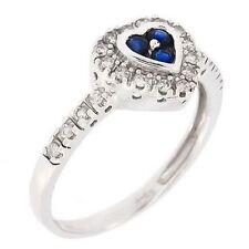 Vintage Diamonds & Sapphire Heart Shaped Shiny 14k Fine Gold Ring