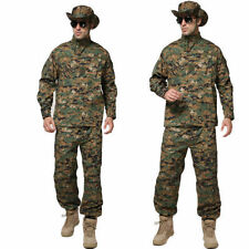 +Men Tactical Army Military Combat Camo Camouflage Jacket+Trousers Uniform Set+~