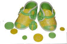Edible Yellow / Green  Shoes Set Birthday / Baby Shower Handmade Sugarpaste Top