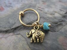 Gold Elephant Turquoise Cartilage Piercing Captive Tragus Earring 14G (1.6mm)