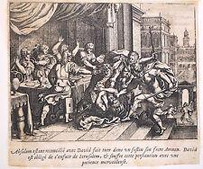 Gravure Etching Kupferstich Bible de Royaumont Sébastien Leclerc Absalom & David
