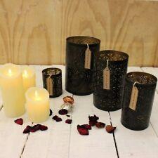 Sati Juego de 4 Vela Faroles Negro y Dorado Decorativo Corazón Floral Vela
