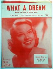 PATTI PAGE Sheet Music WHAT A DREAM Keys Publ. 50's Traditional POP Female Vocal