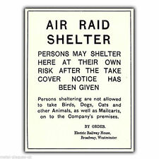 METAL SIGN WALL PLAQUE AIR RAID SHELTER WARTIME poster ww2 advert print picture