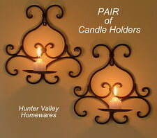 Pair of Wrought Iron Candle Holders Rustic Country Sconces Wall 1 Cup Black Cw21