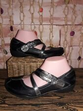 Taos Leather Mary Jane Flats Black Silver Size 7 Super Cute.