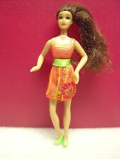 McDonalds Barbie doll loose 2008 Brown long hair green shoes, dressed