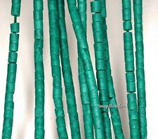 "3MM BAMBOO GREEN JASPER GEMSTONE GREEN ROUND TUBE HEISHI 3-4MM LOOSE BEADS 16"""