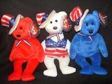 NWT TY BEANIE BABY SAM RED, WHITE AND BLUE U.S.A BEARS