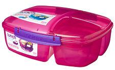 Sistema Pink Triple Split 2L Multi Compartment Lunch Box Yoghurt Pot School Food