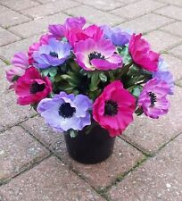 Artificial Anemone Arrangement Grave Pot.Weighted plastic pot. Total 20 cms wide
