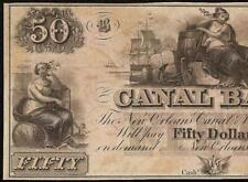 UNC 1850s $50 DOLLAR NEW ORLEANS CANAL BANK NOTE LARGE CURRENCY OLD PAPER MONEY