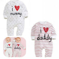 I Love Mummy & Daddy  Baby Boy Girl Baby grow Sleepsuit rompers