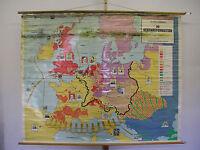 Schulwandkarte Gegenreformation Europa nach Luther 30jähiger Krieg  206x166~1960
