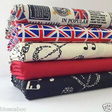 5 cuarto gordo Bundle británico Musical noticias & Union Jack flag100% Tela De Algodón