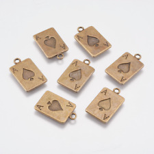 50 Playing Card Charms Antiqued Bronze Ace of Spades Pendants Bulk Lot 21mm