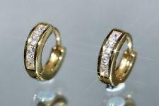 2 x 4 Created Princess Tiny Diamond 1.0cm 14K Yellow Gold GF Hoops