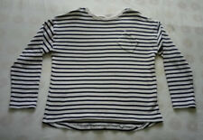 ZARA Girls Breton thick long-sleeve t-shirt cream & navy stripes 13-14yrs