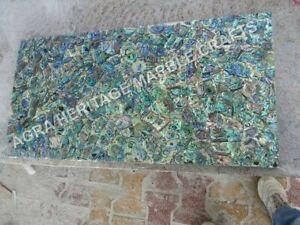 5'x3' Random Marble Breakfast Dining Table Top Pauashell Inlay Stone Arts E1147A