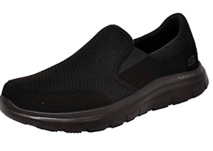 Skechers Work Shoes Black Men's Comfort Memory Foam Slip On Slip Resistant 77048