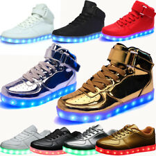 Unisex 7 LED Luminous Shoes Men Women Light Lace Up USB Charger Casual Sneakers