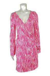 Express Small Longsleeve Wrap Dress V-Neck Pink Geometric Print Stretch Work