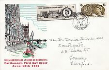 GB 1965 PARLIAMENT Stamps Set 3d PHOSPHOR FIRST DAY COVER FORMBY PMK Ref:572