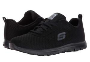 SKECHERS 77210W/BLK GHENTER - BRONAUGH Wmn`s (W) Black/Water Mesh Work Shoes