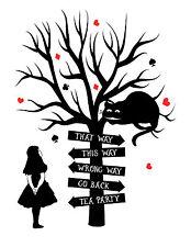 "Alice in Wonderland ""This Way"" Typography Decorative Vinyl Wall Sticker"