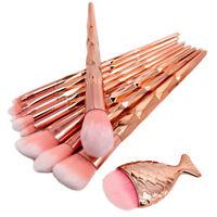 Mermaid Unicorn Rose Gold Makeup Brushes Set Powder Foundation Cosmetic Brush