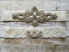 Wedding Garter, Rhinestone Garter Set, Ivory Lace,  Keepsake  & Toss Garter