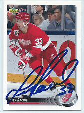 Yves Racine signed 1992-93 Upper Deck hockey card Detroit Red Wings autograph