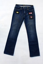 ROCCOBAROCCO VTG Patched DENIM BLUE JEANS STRAIGHT STRETCH FADED W29 UK12 ITALY