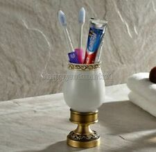 Antique Brass Bathroom Toothbrush Holder with Single Ceramic Cup Wall Mounted