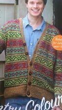 knitting pattern Mens Boys Fair Isle Cardigan Aran weight Yarn 4+5mm needles