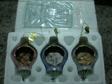 2001 BRADFORD EDITION'S LISA JANE ENCHANTED GARDEN SET OF 3  ORNAMENT COLLECTION