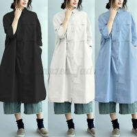 Womens Collared Button Down Casual Loose Baggy Solid Long Shirt Dress Top Blouse