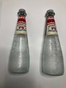 2 Vintage Hunt's Ketchup Spirit of 76 Decanter Bottles Eagle & George Washington