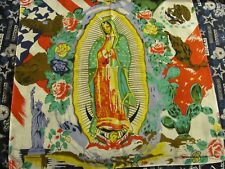 100% COTTON MADONNA GUADALUPE BANDANA,WITH AMERICAN AND MEXICAN FLAGS.