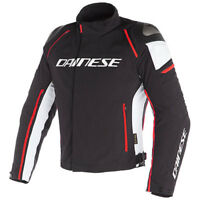 Dainese Men's Racing D-3 D-Dry Waterproof Jacket Black White Fluo Red Size 52 EU
