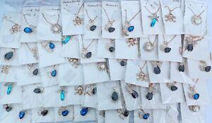 Wholesale 50 Pcs Rhinestone Rose Gold Plated Lady Pendants Necklaces Jewelry