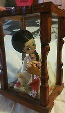 Vintage Traditional Korean Dress Doll in Glass Display Case Box Satin Women's