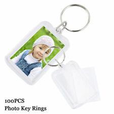 Willstar Clear Acrylic Blank Photo Insert Key Rings - 100 Pcs